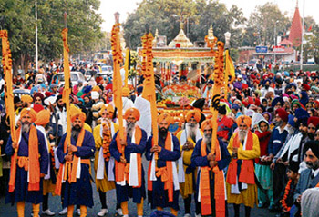 A nagar kirtan held in connection with the birth anniversary of Guru Gobind Singh in Chandigarh on Wednesday.